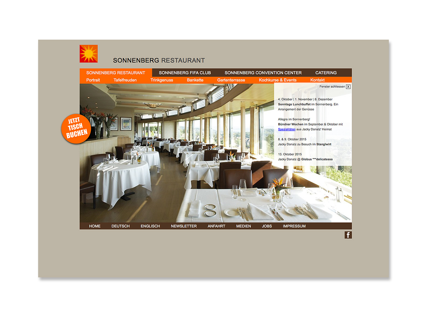 Website, Sonnenberg – Restaurant, Fifa-Club, Convention Center, Catering